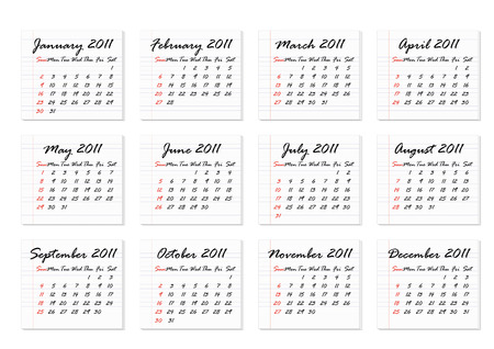 Calendar 2011 in English, week starts with Sunday Vector