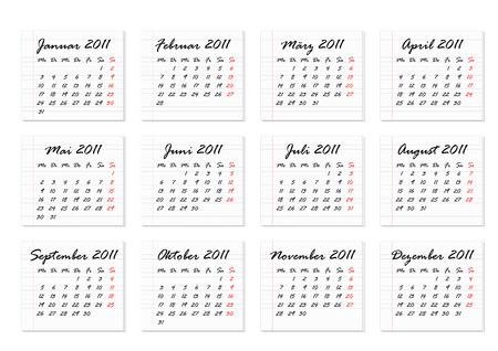 Calendar 2011 in German Vector