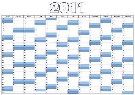 Blue calendar for 2011  in English