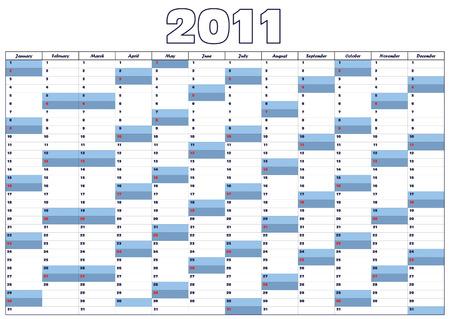 Blue calendar for 2011  in English Vector