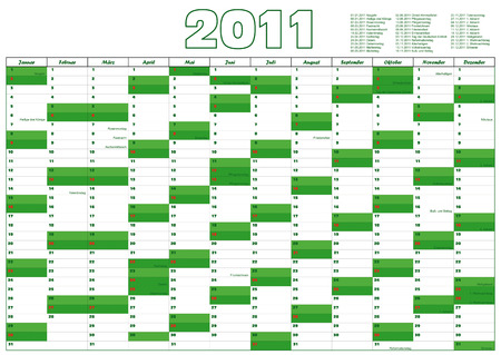 calendar for 2011 in German with official holidays Vector