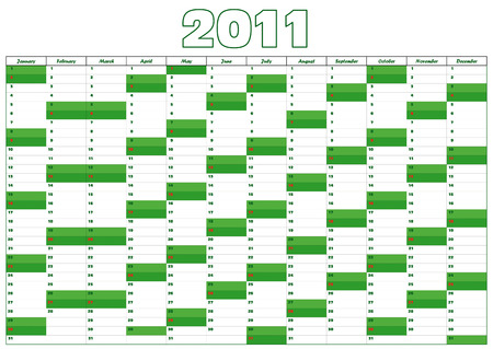 calendar for 2011 in English