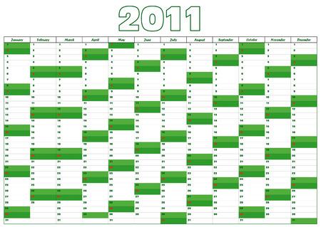 calendar for 2011 in English Vector