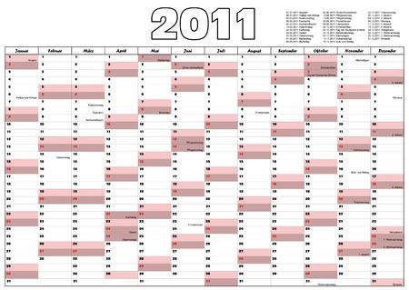 2011 Calendar with German official holidays Vector