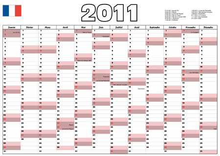 Calendar 2011 with French official holidays Vector