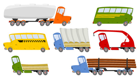 yellow tractor: Collection of colorful trucks and buses in cartoon style