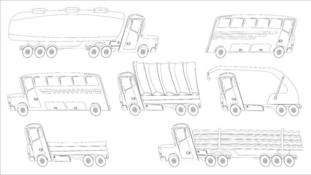 coloring page with trucks and buses in cartoon style Vector