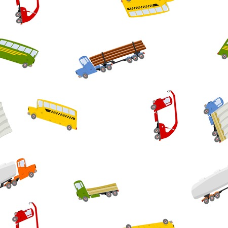 seamless pattern with colorful trucks and buses in cartoon style Vector