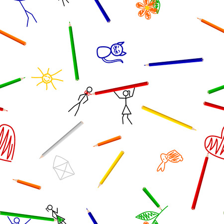 Seamless pattern with colorful pens and childrens drawings