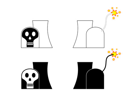 chain reaction: Symbolic nuclear power plant with skull and match cord