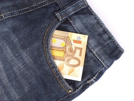 jeans with money in the pocket isolated on white background Stock Photo