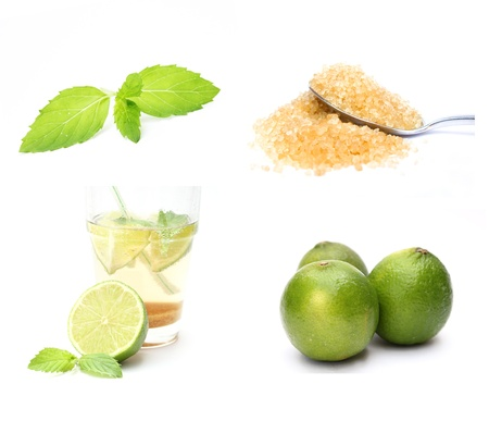 Mojito cocktail ingredients isolated on white background