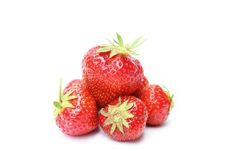 fresh sweet strawberries isolated on white background