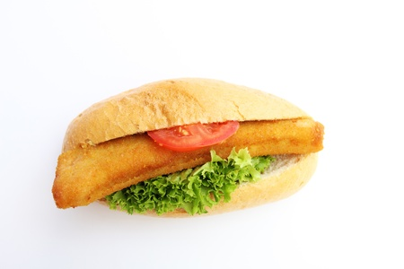 fresh tasty fishburger isolated on white background