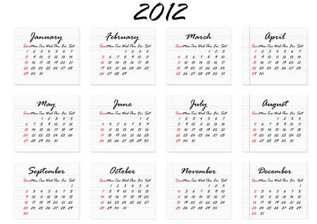 Calendar for 2012 in English; week starts with Sunday Vector
