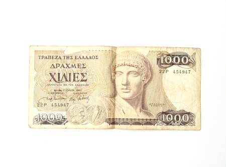 old Greek drachma banknote isolated on white background