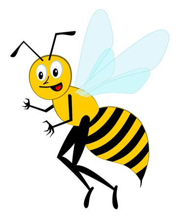 Smiling funny cartoon character bee
