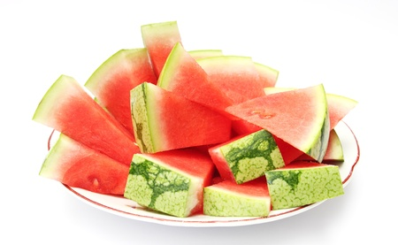 slices of red watermelon isolated on white background Stock Photo