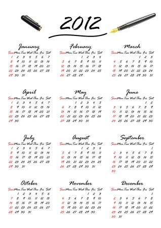 A calendar for the year 2012, week starts with sunday Vector