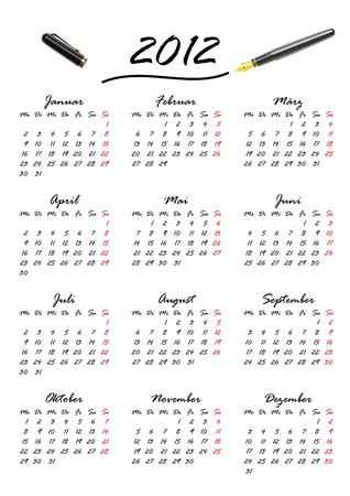 Calendar for 2012 in German, week starts with monday Vector