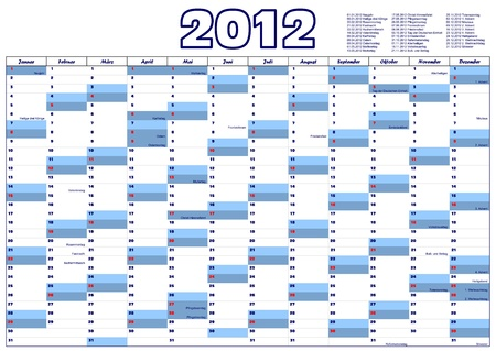 Calendar for 2012 in German with official holidays Illustration