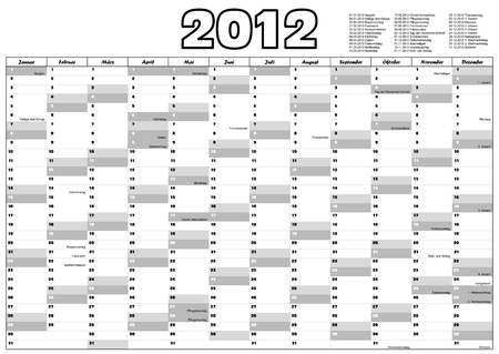 Calendar for 2012 in German with official holidays Vector