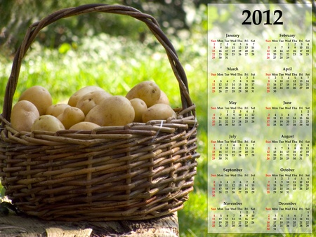 Kitchen calender 2012 with a basket of potatoes