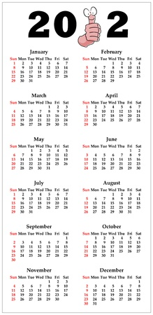 Calendar for 2012 in English with funny thumbs up cartoon