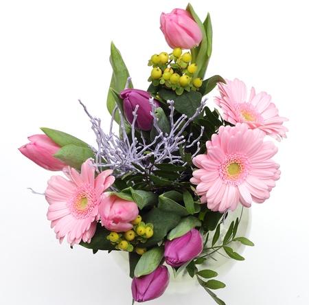 verse boeket bloemen op een witte achtergrond Stockfoto