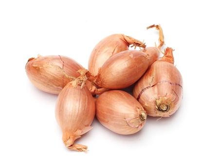 onions: chalotes frescas aisladas sobre fondo blanco Foto de archivo