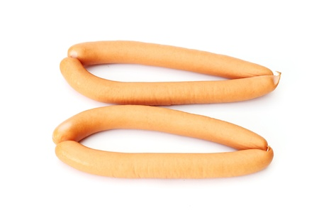 fresh wiener sausages isolated on white background