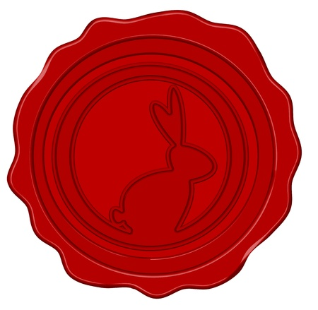 Wax seal with easter bunny in dark red Illustration