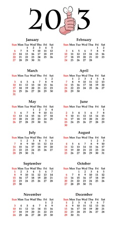Calendar for 2013 in English with funny thumbs up cartoon Vector