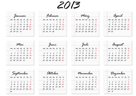 calendar for the year 2013 in German Vector