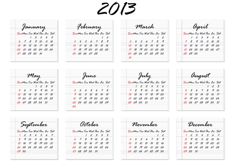 Calendar for 2013 in English; week starts with Sunday Illustration