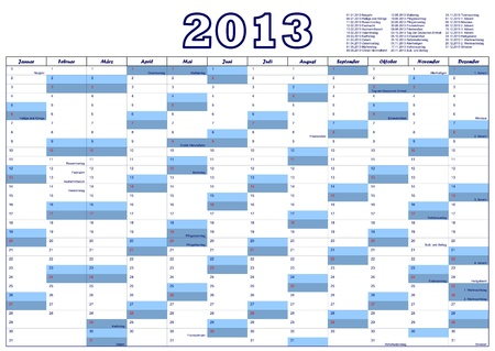 Calendar for 2013 in German with German official holidays