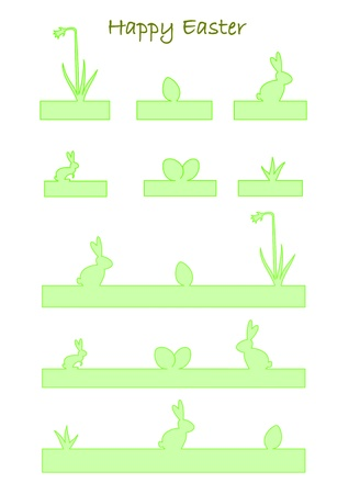 Green banners with easter bunny, easter eggs, and daffodil Vector