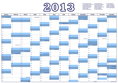 Calendar for 2013 with federal holidays U.S.A. Vector