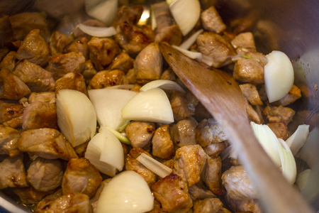 goulash meat with onions