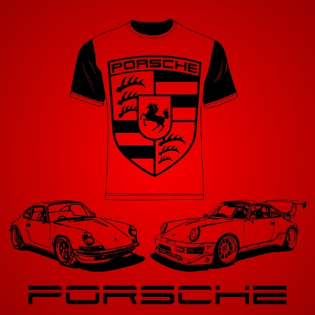 Porsche cars, logo and tee shirt on plain background
