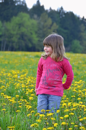 girl standing among the flowers photo