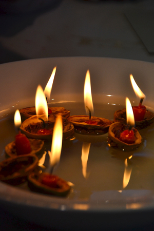 swimming candles: Flame Stock Photo