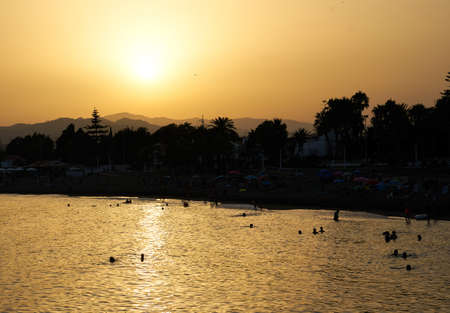 landscape of caleta de velez beach during sunset, august 2020