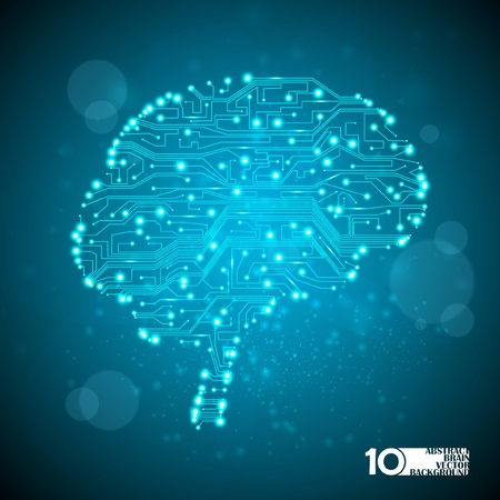circuit board vector background, technology illustration, form of brain eps10 Illustration