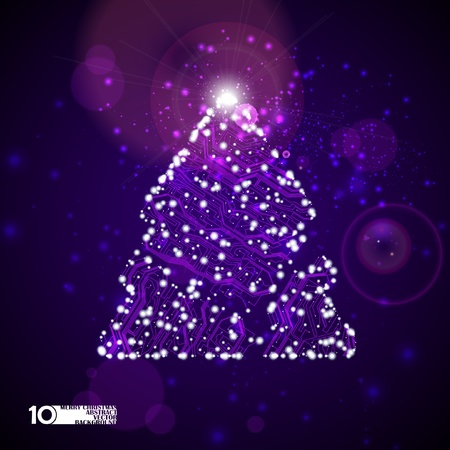 circuit board vector background, technology illustration, christmas tree eps10 Vector