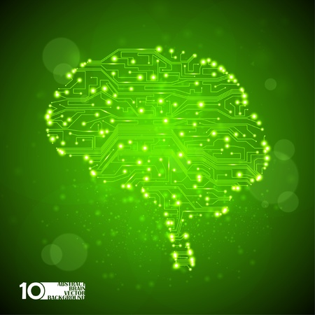 processors: circuit board vector background, technology illustration, form of brain eps10 Illustration