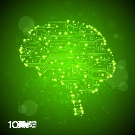 medicina interna: placa de circuito de fondo ilustraci�n vectorial de tecnolog�a, la forma del cerebro de eps10
