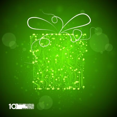 circuit board vector background, technology illustration, christmas gift eps10 Stock Vector - 11656665