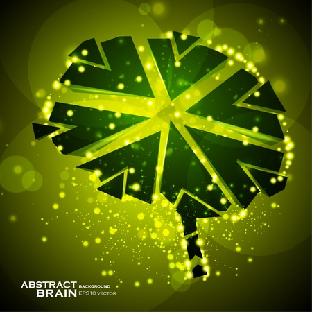 power of thinking: Brain crushing, abstract light background, vector illustration eps10