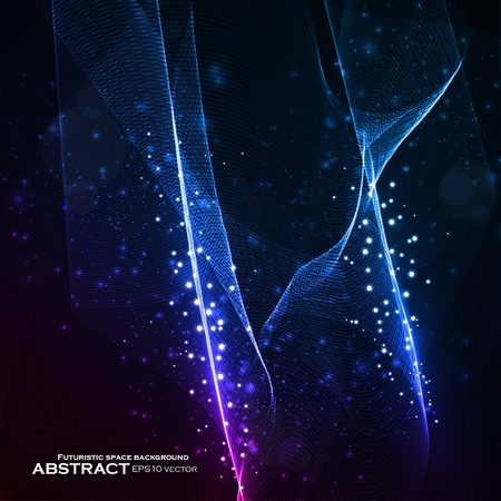 Abstract vector background, shiny space, futuristic wave illustration eps10 Vector